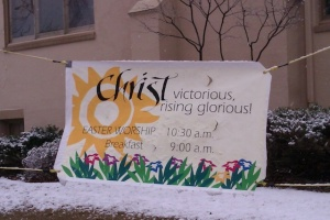 Easter Banner Outside Our Church