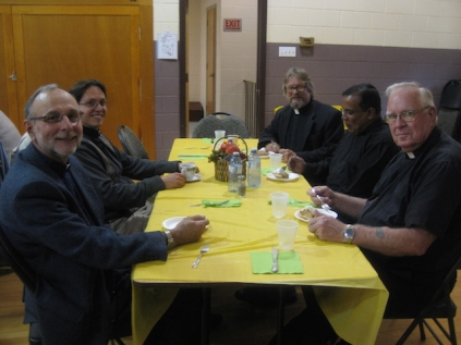 L-R The Reverend Venerable Dr John Course, St. David's Anglican Church, The Reverend Deacon George Henry, All Saints' Anglican Church, R-L The Reverend Nirmal Mendis, All Saints' Anglican Church, \ and Christ Church, The Reverend Will Alakas, Holy Trinity Anglican Church, and RR The Reverend Jukka Saarinen, St. Matthew's Evangelical Lutheran Church