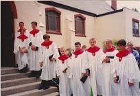 Confirmation-May 23/99-Pentecost Sunday L->R: Phillip and Danny Rominger, Adam Kiess, Patrick Mullin, Daniel Fritz, Nathan Dufour, Andrew Morris, Tanya Adams, Andrew (Taz) Bucsis
